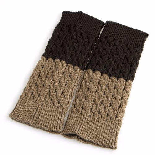 Reversible Tan Or Dark Brown Boot Cuffs Cable Knit Two Tone Boho Boot Toppers One Size