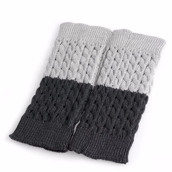 Reversible Gray Or Charcoal Boot Cuffs Cable Knit Two Tone Boho Boot Toppers One Size