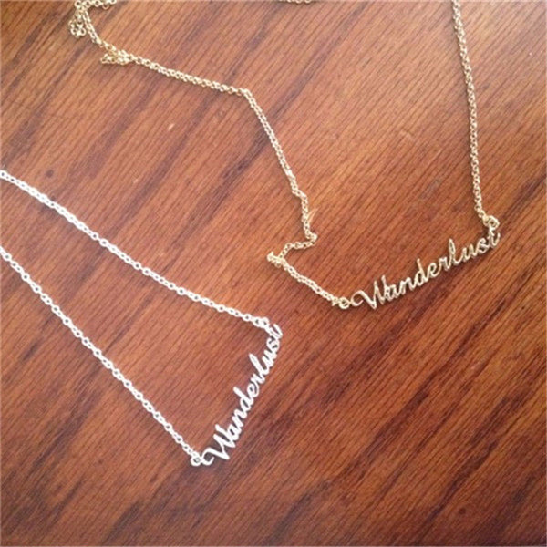 Wanderlust Necklace Silver Spelled Out In Cursive Not All Who Wander Are Lost