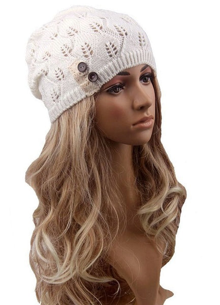 Boho Beanie Lace And Button White Stocking Cap Crochet Lace Wooden Button Slouch Hat One Size