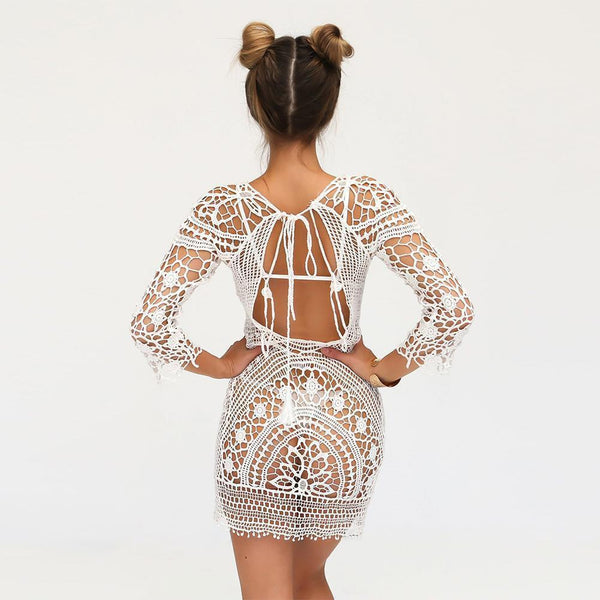 White Crochet Dress Open Back Swimsuit Cover See Thru Tassel Tie Three Quarter Sleeve Mini One Size