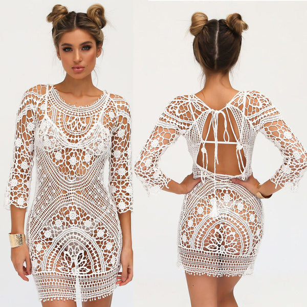 White Crochet Dress Open Back Swimsuit Cover See Thru