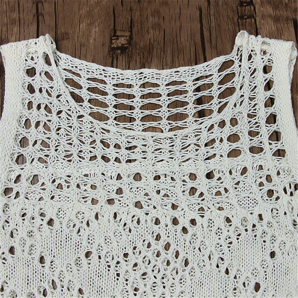 Crochet Maxi Dress White Boho Long Gown See Through Net Great For Beach Or Festivals Choose Small Medium Large Or Extra Large XL