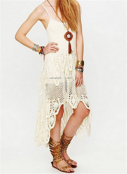 Bella Donna Dress Off White Crochet High Low Coachella Maxi Gown One Size Fits Small Medium Or Large