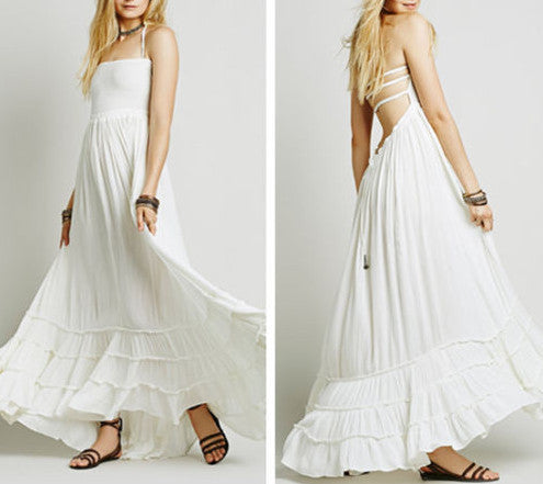 "Boho Maxi Dress White ""Extratropical"" Halter Gown Long Strappy Backless Wedding Dress Gauze Gypsy Dress Smocked Front Adjustable Waist Triple Tiered Hem Size Small"