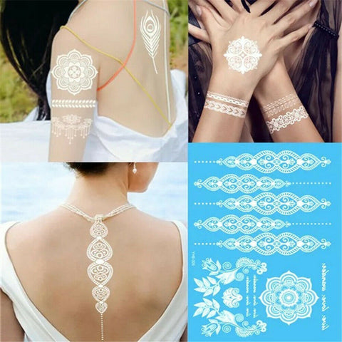White Henna Gypsy Wanderer Temporary Tattoos Live Love Wander Blooming Sun Flower Mandala Designs Flash Tattoos