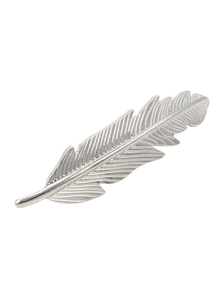Zuni Silver Feather Barrette Tribal Boho Festival Hair French Clip