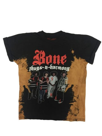 BONE THUGS-N-HARMONY ETERNAL 1999  BLEACHED TEE BLACK