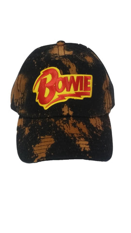 BOWIE BLACK SPLATTER BLEACHED DAD HAT