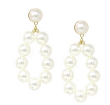 Beaded hoop pearl earring