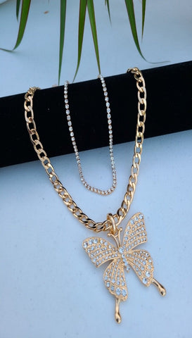Zervanna layered butterfly necklace