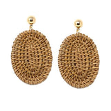 Oval straw drop earrings