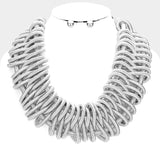 Statement braided collar bib necklace