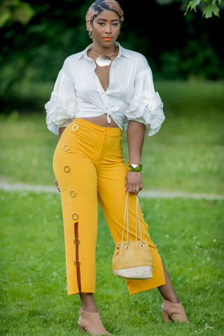 Yellow crop pants