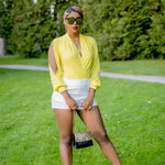 Yellow mid plunge long sleeve  body suit