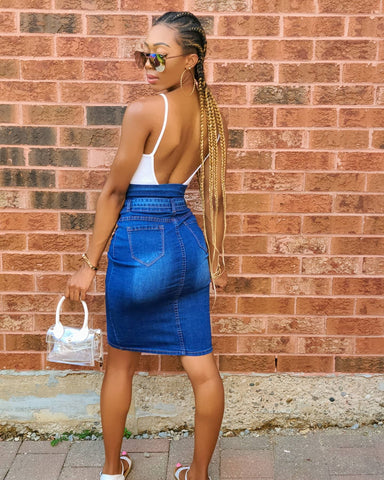 Yvonne high rise denim skirt