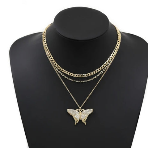 Nicole layered butterfly pendant necklace set