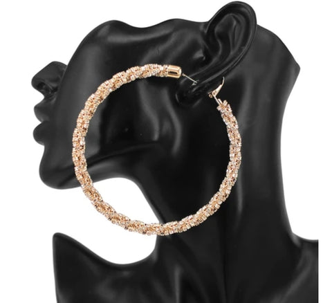 Ashanti twist rhinestone hoop earrings