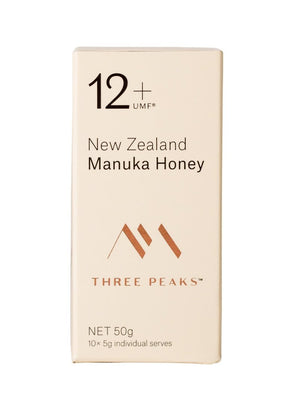 New Three Peaks 50g UMF 12+ Manuka honey 10x Single Serve Multi-Pack