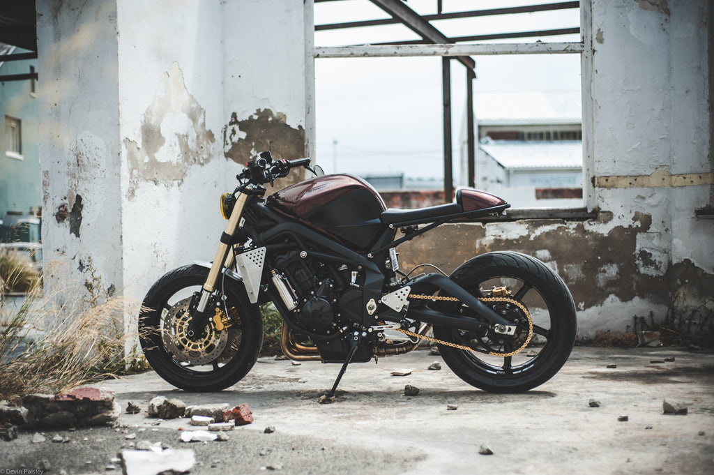 Wolf Moto Triumph Street Triple custom - shot by Devin Paisley of Woodstock Moto Co