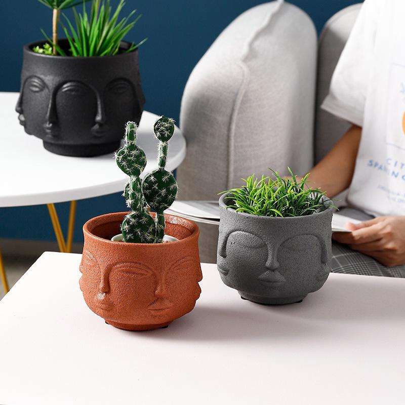 Multi Face Pot Planter - White Sandy Texture
