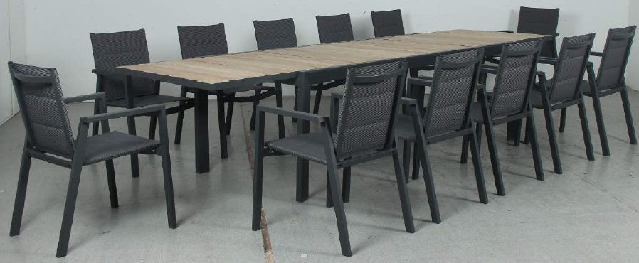 OSLO 13pc Timber Slat Extension Aluminium Outdoor Dining Set with Cove chairs - Gunmetal - Razzino Furniture