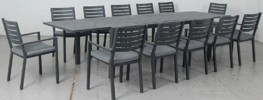 OSLO 13pc Extension Aluminium Outdoor Dining Set with Como chairs - Gunmetal - Razzino Furniture