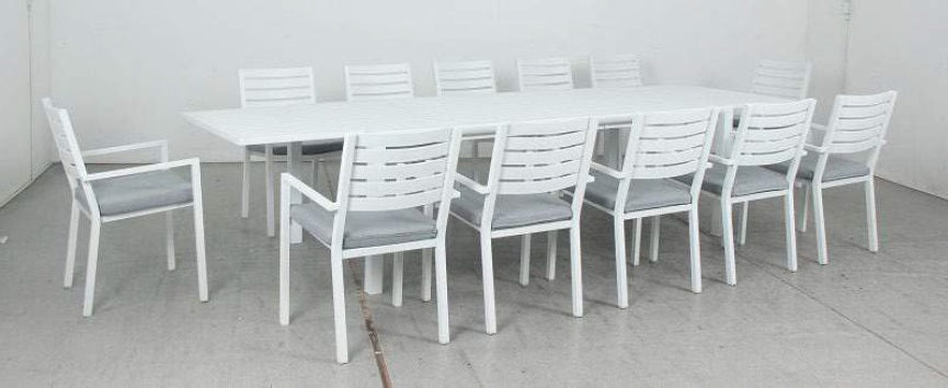 OSLO 13pc Extension Aluminium Outdoor Dining Set with Como chairs - White - Razzino Furniture