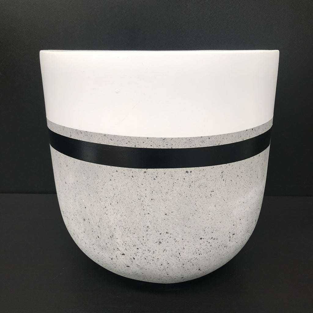Painted White & Black Stripes - Concrete Tall Pot - Razzino Furniture