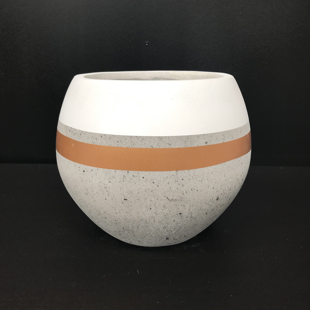 Painted White & Gold Stripes - Concrete Ball Pot - Razzino Furniture