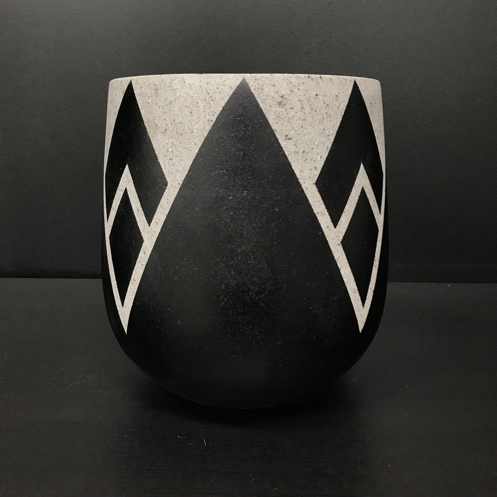 BLACK Painted CRESCENT - Concrete Lotus Pot - Razzino Furniture