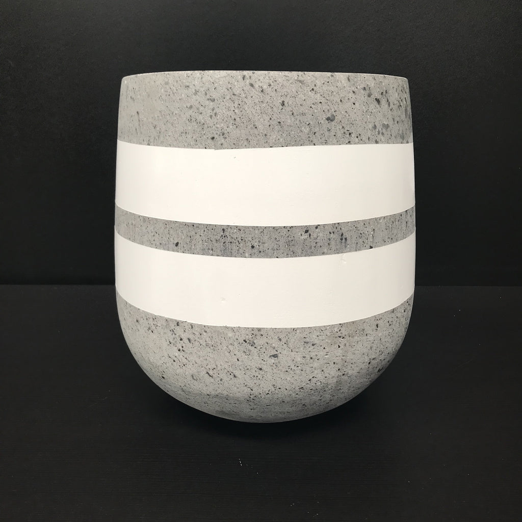 WHITE Painted Double Stripe - Concrete Lotus Pot - Razzino Furniture
