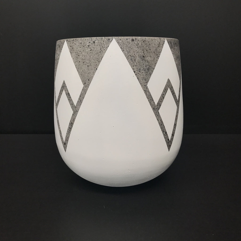 WHITE Painted CRESCENT - Concrete Lotus Pot - Razzino Furniture