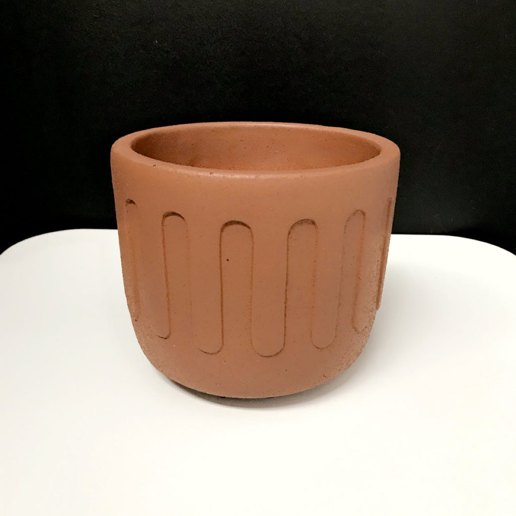 Sandy Concrete Drip Pot - Terracotta (Small or Medium)