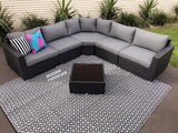 6pc LA VIDA Outdoor Rattan Multi Way L Modular Lounge - Razzino Furniture