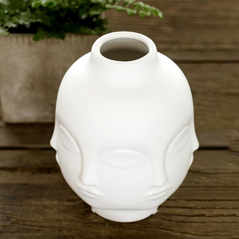 Round Multi Face Ceramic Vase - White - 19cm