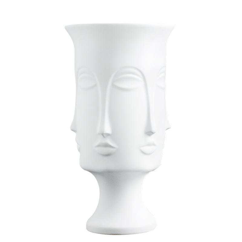 Multi Face Deluxe XL Ceramic Vase - White - 38cm