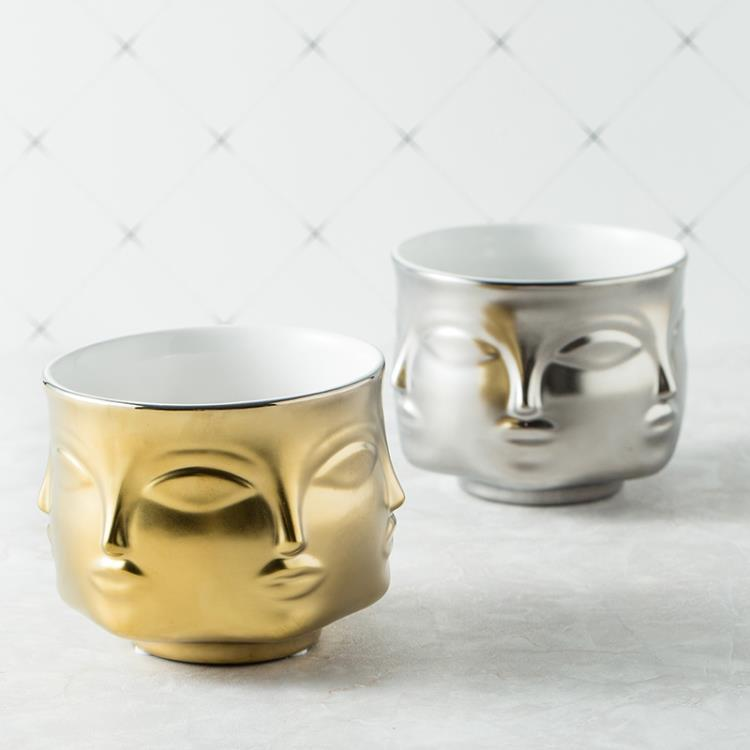 Multi Face Ceramic Pot - White / Black / Gold / Silver - 9.5cm
