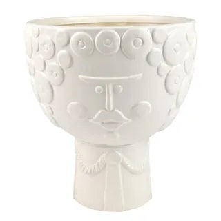 Bernie Ceramic Planter 19.5x22cm White - Razzino Furniture