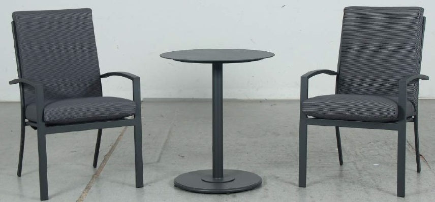 Bistro 3pc Table & High Back Chairs Set - Gunmetal - Razzino Furniture