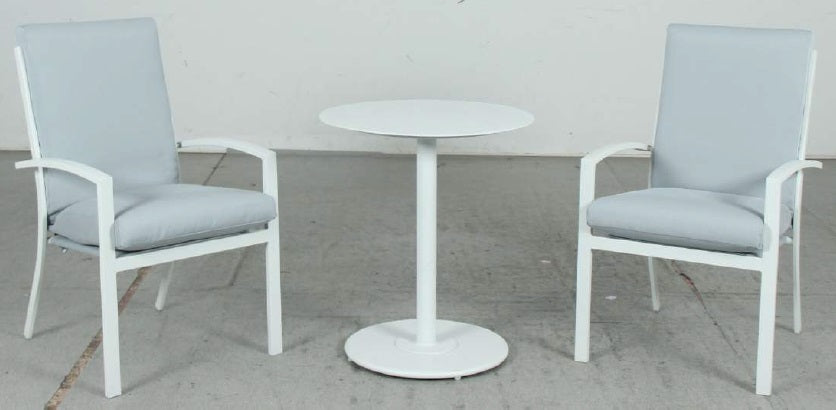 Bistro 3pc Table & High Back Chairs Set - White - Razzino Furniture