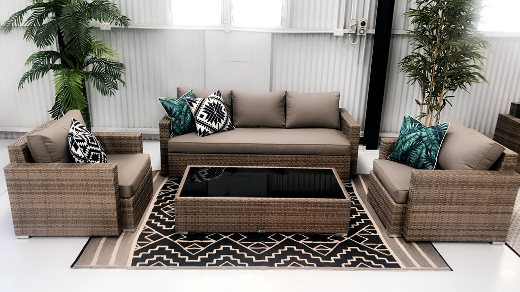 4pc CAPRI OUTDOOR RATTAN SOFA & ARM CHAIRS SET - Razzino Furniture