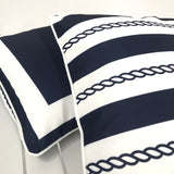 Nautical Hampton Ropes - Navy & White - Outdoor Cushion