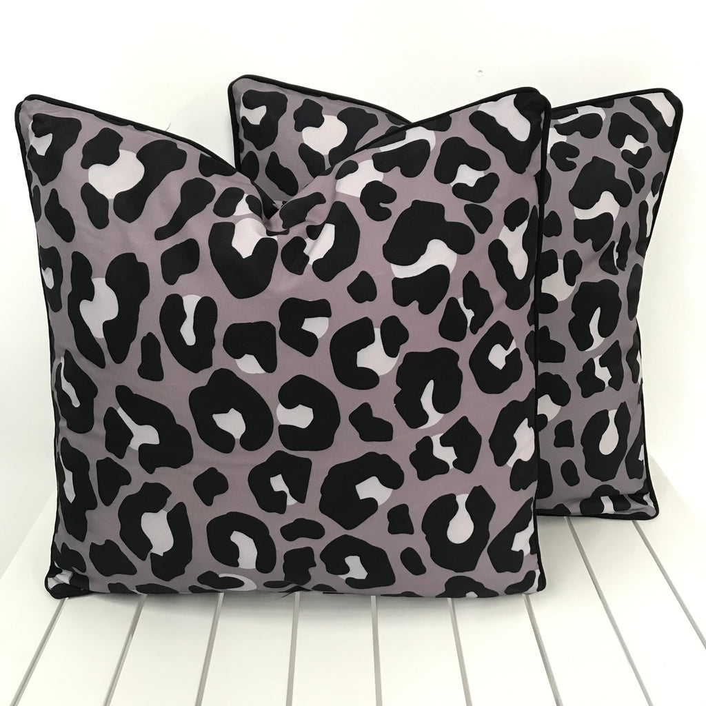 Grey Leopard Print - Outdoor Cushion