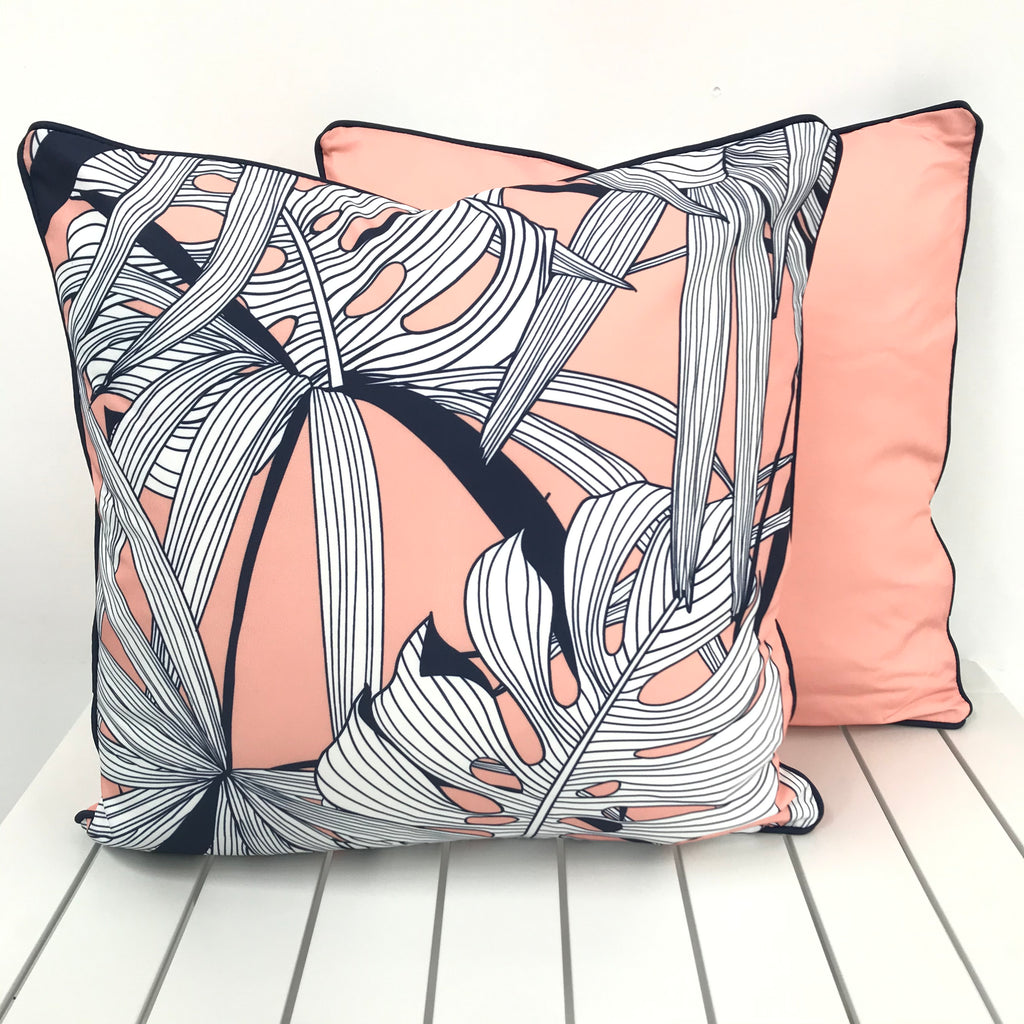 Peachy Palms with Navy Trim - Outdoor Cushion