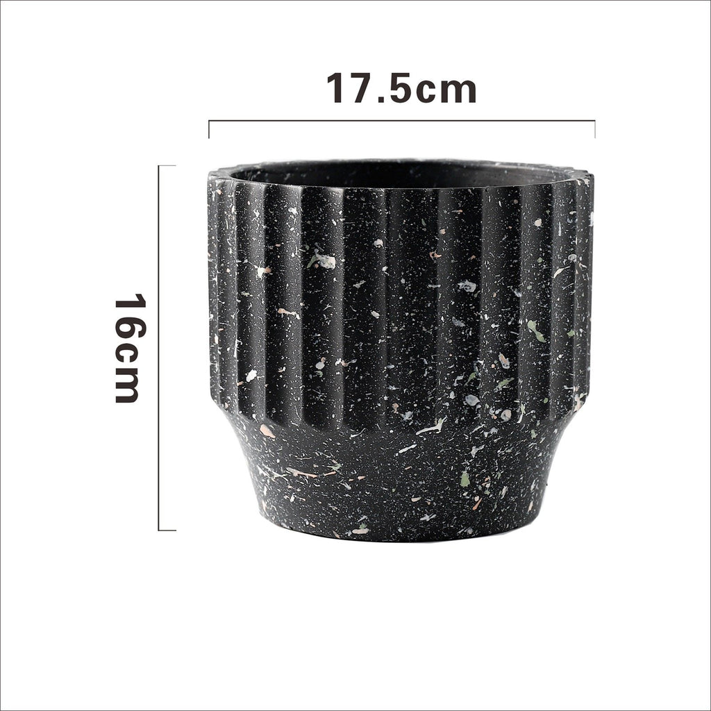 Painted Concrete Terrazzo Pot - Black (Small or Medium)