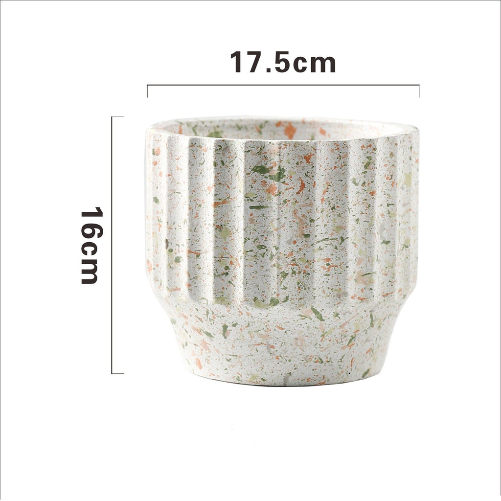 Painted Concrete Terrazzo Pot - White (Small or Medium)