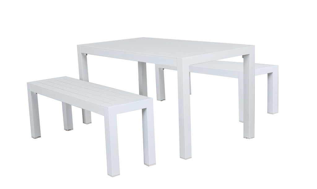 Oslo Dining & Bench Outdoor Aluminium 3pc Set - White - Razzino Furniture