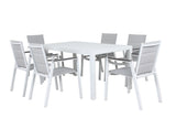Oslo Outdoor Aluminium Dining 7pc Set - White - Razzino Furniture