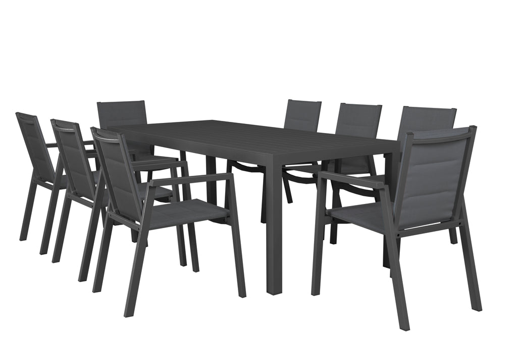 Oslo Outdoor Aluminium Dining 9pc Set - Gunmetal - Razzino Furniture